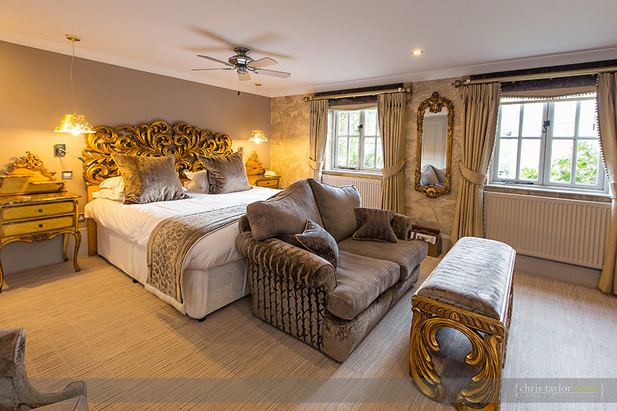 Luxury bedroom at The Hoste